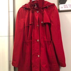 London Fog red trench/rain coat
